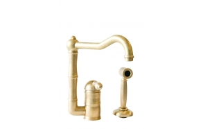 kitchen mixer with hand spray, raw brass