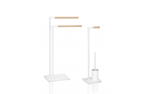 WHITE 2T. TOWEL HOLDER W/NAT.WOOD