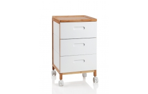 3 TRAY WHITE/NATURAL WOOD TROLLEY
