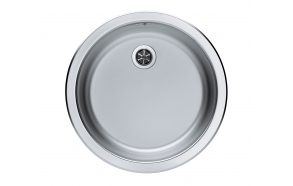 round stainless steel basin FORM 10, diam 45 cm, waste 1 1/2´´, satin finish. Drain not included.