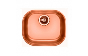 square stainless steel basin VARIANT 20, 42x34 cm, height 17,5 cm, waste 3 1/2´´, copper finish. Drain is included.