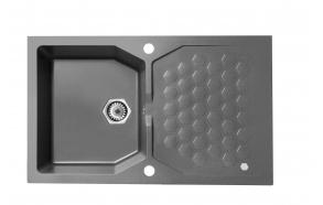 granite basin SENSUAL 30, 85x52x20 cm, color G04M steel,hexagonal automatic siphon