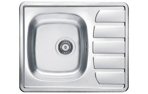 square stainless steel basin with worktop ZOOM 10, 61.5x50 cm, height 15.5 cm, waste 3 1/2´´,linen finish. Drain not included.