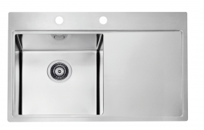 square stainless steel basin with worktop PURE 40 left, 86x51 cm height 20.5 cm, satin finish. Automatic drain 3 1/2´´included.
