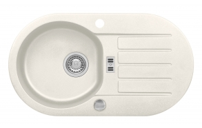 granite basin NIAGARA40-G11  78x43,5x16 cm, G11 white, automatic siphon