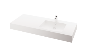 silkstone basin Piano 150cm,basin on  right, h 15 cm