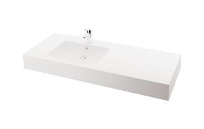 silkstone basin Piano 150cm,basin on  left, h 15 cm