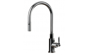 kitchen mixer New Modern with pull out spray, bright brass