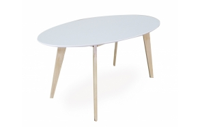 dining table Nordic Oval, white/oak 160x90 cm