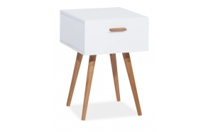 bedside table Nordic, oak+white