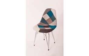 "chair Alexis, blue patchwork, chromed metal ""Y"" feet"