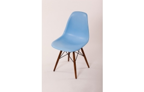 chair Alexis, blue, light brown feet