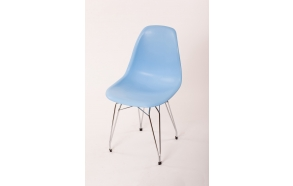 "chair Alexis, blue, chromed metal ""Y"" feet"