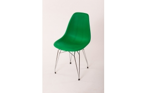 "chair Alexis, green 12, chromed metal ""Y"" feet"