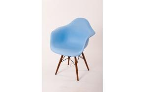 chair Beata, blue, light brown feet