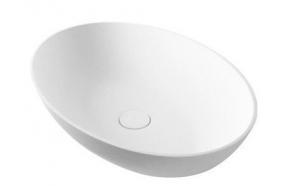 THIN top counter rockstone washbasin 600x400x140mm, matt white