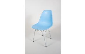 "chair Alexis, blue, white metal ""Y"" feet"
