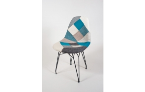 "chair Alexis, blue pathwork, black metal ""Y"" feet"
