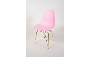 "chair Alexis, pink, golden metal ""Y"" feet"