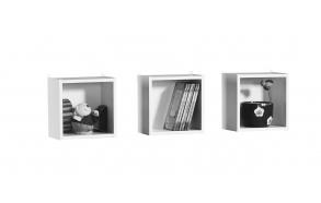 3 squares shelf, white
