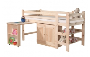 High bed 190x90 cm Bed 1 – with a desk, a cabinet and a bookshelf (untreated), wood