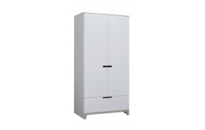 Mini - 2-door wardrobe, white+grey