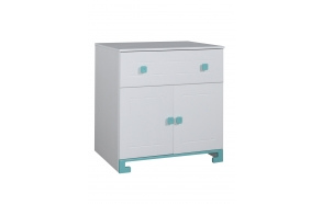 ToTo - 2-door chest,white+turquoise