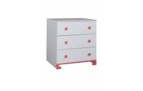 ToTo - 3-drawer chest,white+pink