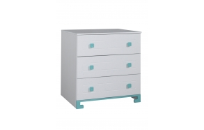 ToTo - 3-drawer chest,white+turquoise
