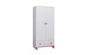 ToTo - 2-door wardrobe,white+pink