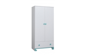 ToTo - 2-door wardrobe,white+turquoise