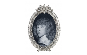 "4"" x 6"" Zinc Photo Frame w/ Jewels, 6-5/8""H"