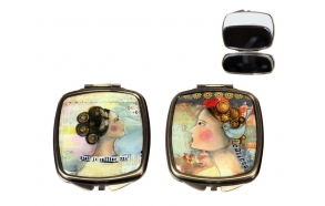 """3""""L Metal & Glass Mirror Compact w/ Girl Image, 2 Styles ©"""