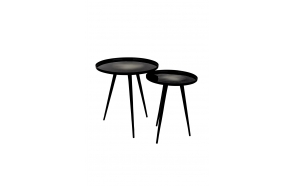 Side Table Flow Set Of 2 Black. S - diam 31 h 40 cm; L diam 40 h 45 cm