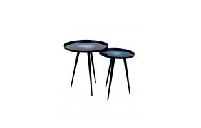 Side Table Flow Set Of 2 Blue. S - diam 31 h 40 cm; L diam 40 h 45 cm