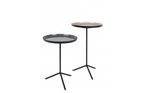 Side Table Trip Set Of 2 Enamel. Height 40/50.5 cm