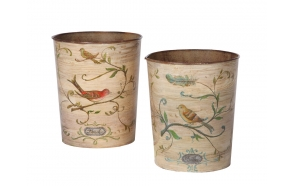 "10-1/2""H Tin Waste Basket w/ Bird Image, 2 Styles ©"