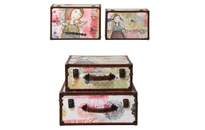 "18-1/8""L x 13""W & 15-3/4""L x 11-1/2""W Canvas & MDF Suitcase w/ Girl Image, Set of 2 ©"