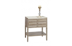 "21-1/2""L x 17-3/4""W x 25-1/2""H MDF Table w/ 3 Drawers, Cream"
