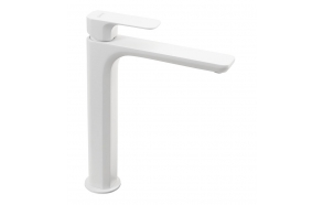 SPY high basin mixer without pop up waste, extended spout, white matt