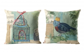 "17-3/4"" Square Cotton Pillow w/ Embroidery & Ribbon, 2 Styles ©"