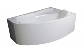 bath  130x85x59 cm, right corner, with front panel and feet, without siphon