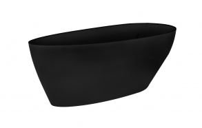 Cast stone bath 160 cm, black