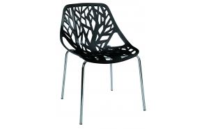 stackable chair Flora, black, metal feet