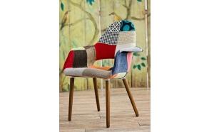 armchair Arne, patchwork, dark brown wooden feet