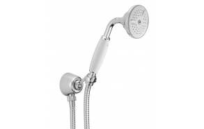 Wall water outlet with support, flexible and white handshower handle