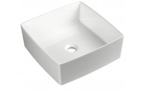cast marble basin Crox, worktop mount, white