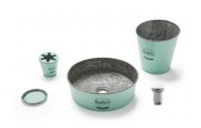 zinc worktop basin Kioto Aquamarine and accessories set: pop-up, bin, tumbler and soap dish