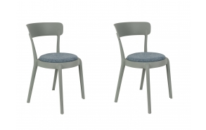 set of 2 chairs Hoppe Comfy Light Grey