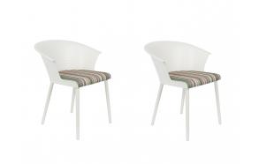 komplekt: 2 käetugedega tooli Olivia, valge